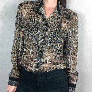 Vintage 1980s Cheetah and Leopard Print Blouse